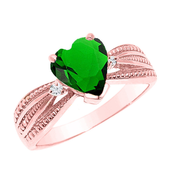 Beautiful Rose Gold Emerald (LCE) and Diamond Proposal Ring