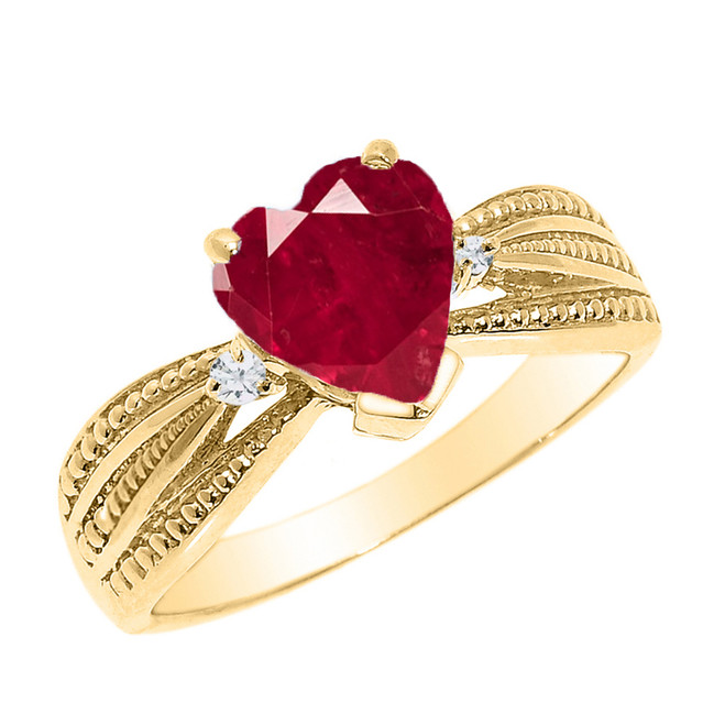 Beautiful Yellow Gold Ruby (LCR) and Diamond Proposal Ring