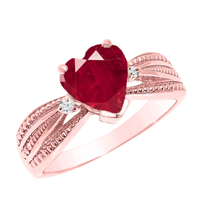 Beautiful Rose Gold Ruby (LCR) and Diamond Proposal Ring