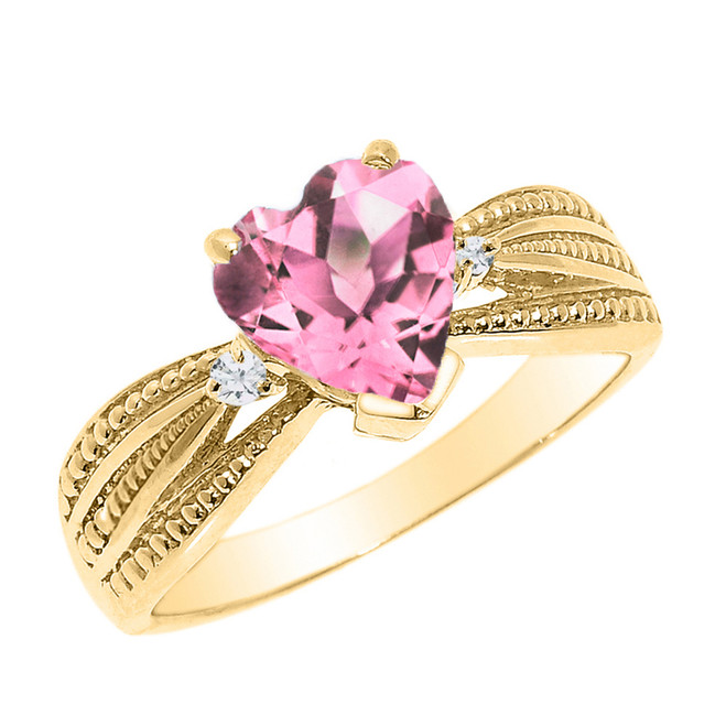 Beautiful Yellow Gold Pink CZ and Diamond Proposal Ring