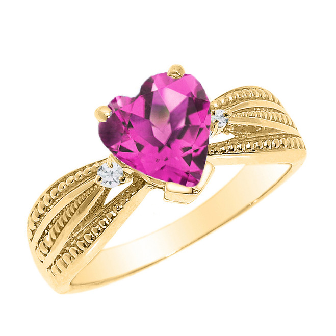 Beautiful Yellow Gold Alexandrite (LCAL) and Diamond Proposal Ring