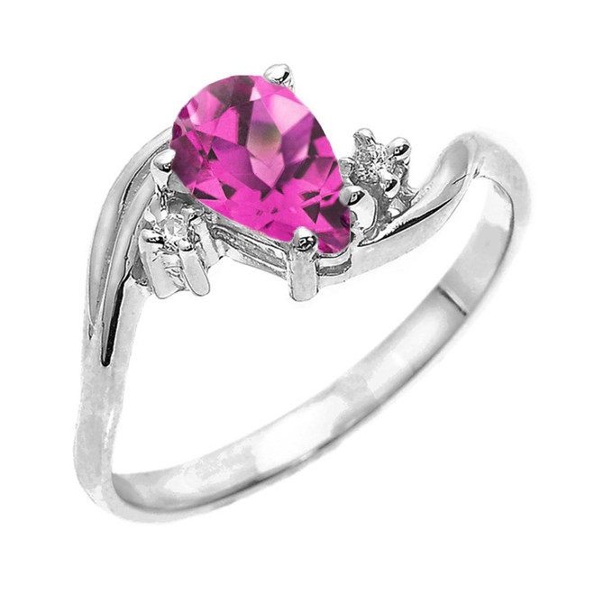 White Gold Pear Shaped Alexandrite (LCAL) and Diamond Proposal Ring