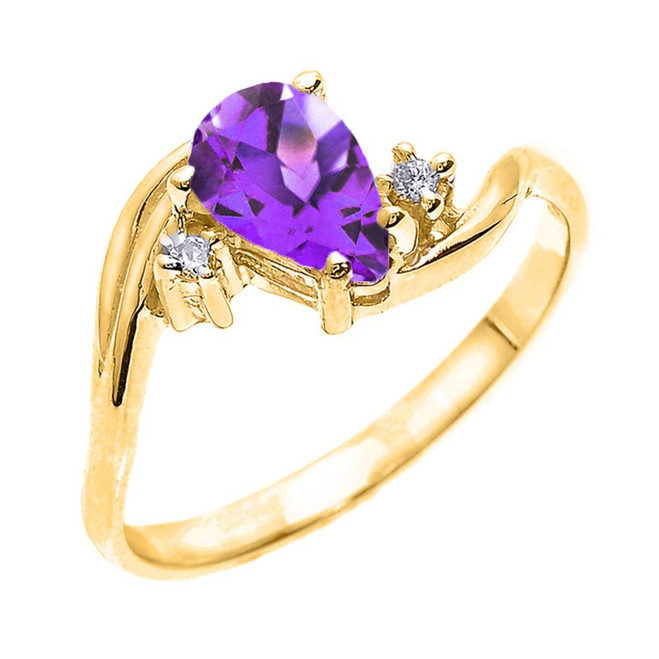 Yellow Gold Pear Shaped Amethyst and Diamond Proposal Ring
