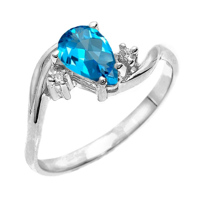 White Gold Pear Shaped Blue Topaz and Diamond Proposal Ring