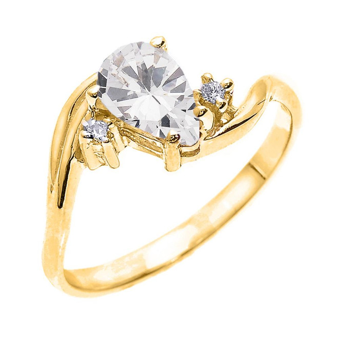 Yellow Gold Pear Shaped CZ and Diamond Proposal Ring