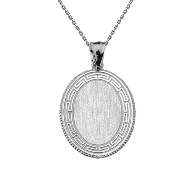 Greek Key White Gold Engravable Oval Pendant