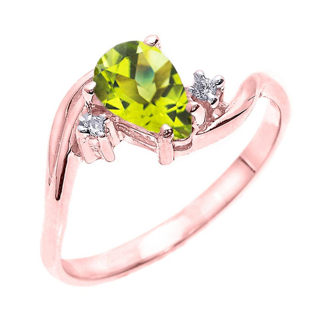 Rose Gold Pear Shaped Peridot and Diamond Proposal Ring