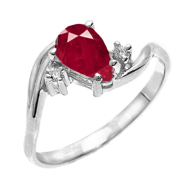 White Gold Pear Shaped Ruby (LCR) and Diamond Proposal Ring
