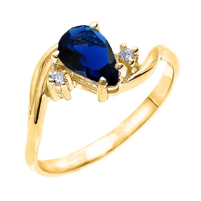 Yellow Gold Pear Shaped Sapphire (LCS) and Diamond Proposal Ring