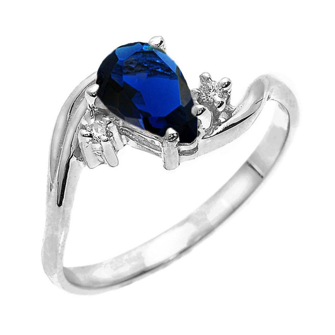 White Gold Pear Shaped Sapphire (LCS) and Diamond Proposal Ring