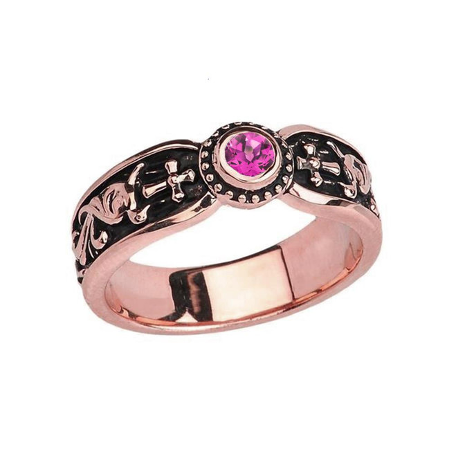 Rose Gold Alexandrite (LCAL) Side Way Cross Vintage Solitaire Wedding Band/Ring