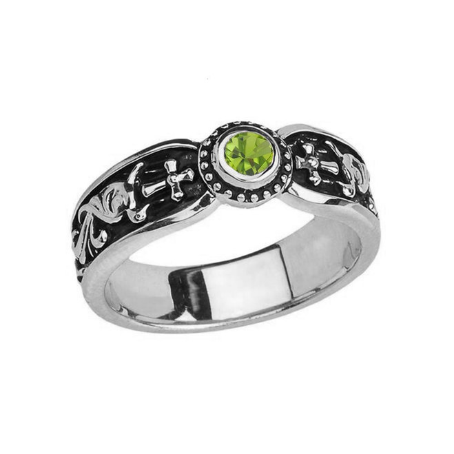White Gold Peridot Side Way Cross Vintage Solitaire Wedding Band/Ring