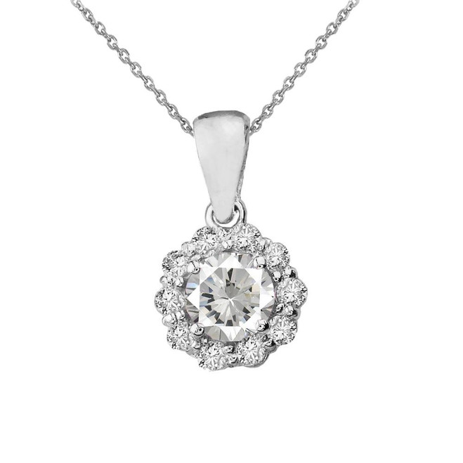 14k White Gold Dainty Floral Diamond Center Stone White Topaz Pendant Necklace