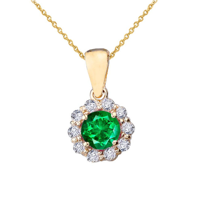 14k Yellow Gold Dainty Floral Diamond Center Stone Emerald Pendant Necklace