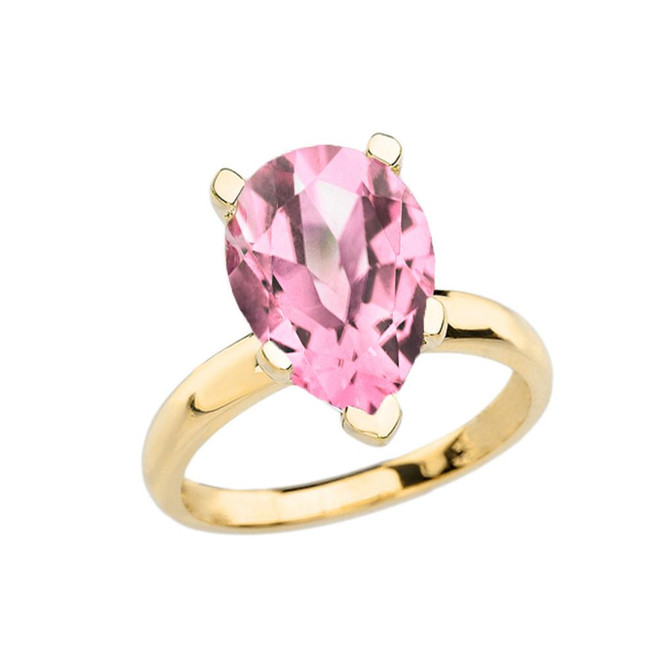 Yellow Gold Pear Shape Pink CZ Engagement/Proposal Solitaire Ring