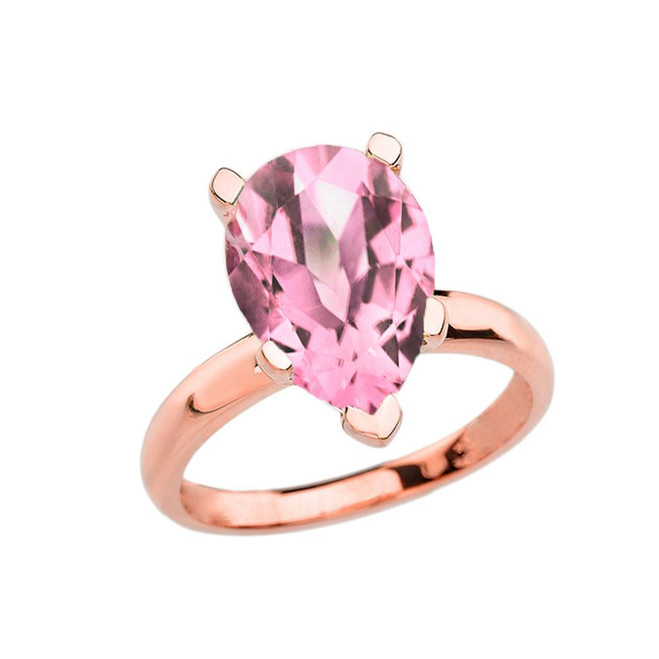 Rose Gold Pear Shape Pink CZ Engagement/Proposal Solitaire Ring