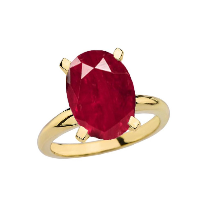 Yellow Gold Oval Shape Ruby (LCR) Engagement/Proposal Solitaire Ring