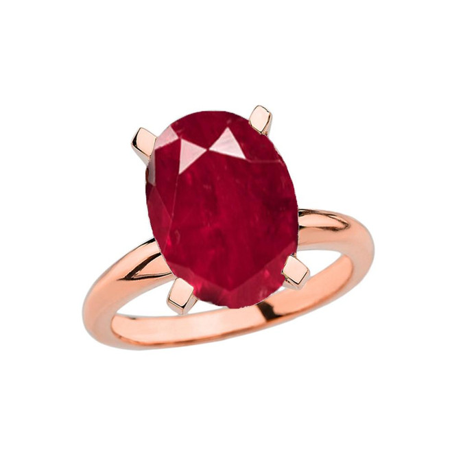 Rose Gold Oval Shape Ruby (LCR) Engagement/Proposal Solitaire Ring