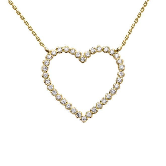 14k Yellow Gold Delicate Two-Sided Diamond Heart Necklace
