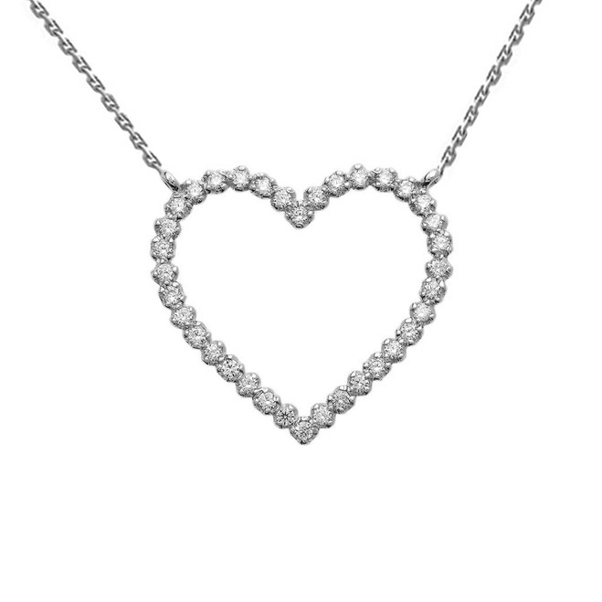 14k White Gold Delicate Two-Sided Heart Necklace