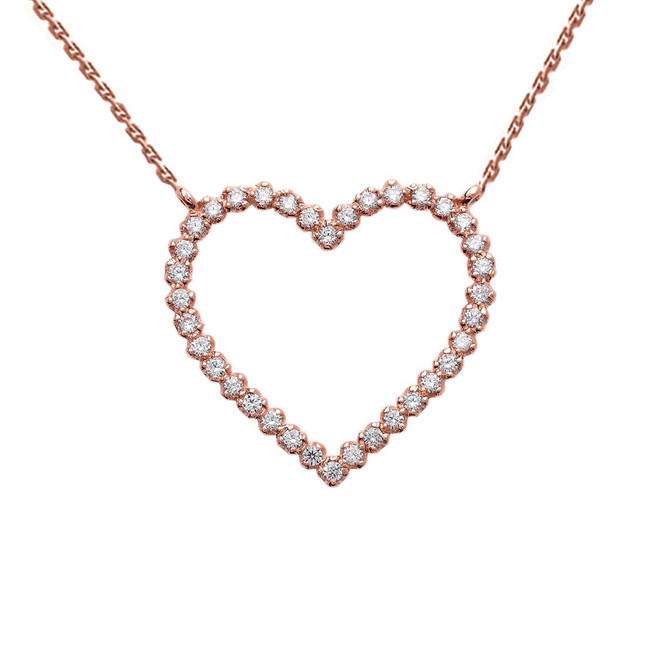 14k Rose Gold Delicate Two-Sided Heart Necklace