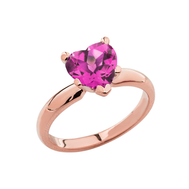 Rose Gold Solitaire Alexandrite (LCAL) Heart Engagement Ring