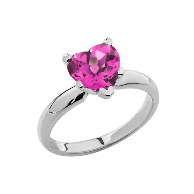 White Gold Solitaire Alexandrite (LCAL) Heart Engagement Ring