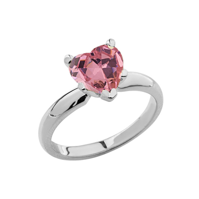 White Gold Solitaire  Pink CZ Heart Engagement Ring
