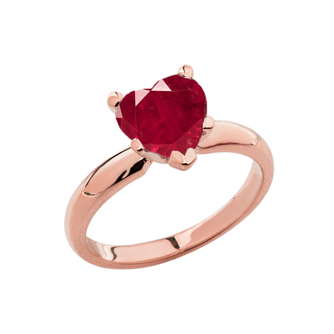 Rose Gold Solitaire  Ruby (LCR) Heart Engagement Ring