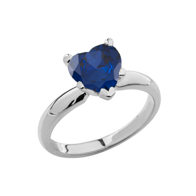 White Gold Solitaire Sapphire (LCS) Heart Engagement Ring
