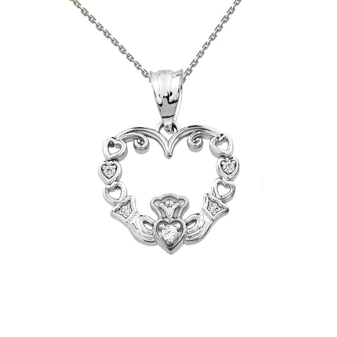 White Gold Diamond Claddagh Open Heart Pendant Necklace