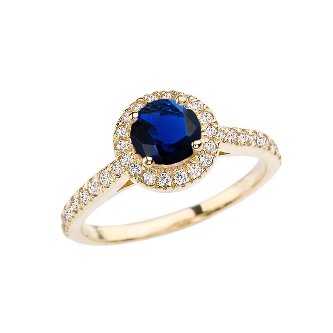 Yellow Gold Diamond and Sapphire (LCS) Engagement/Proposal Ring