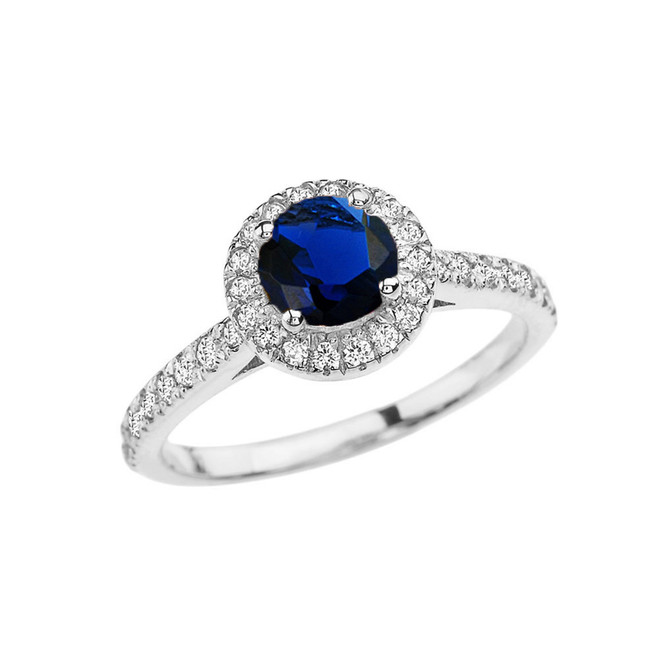 White Gold Diamond and Sapphire (LCS) Engagement/Proposal Ring