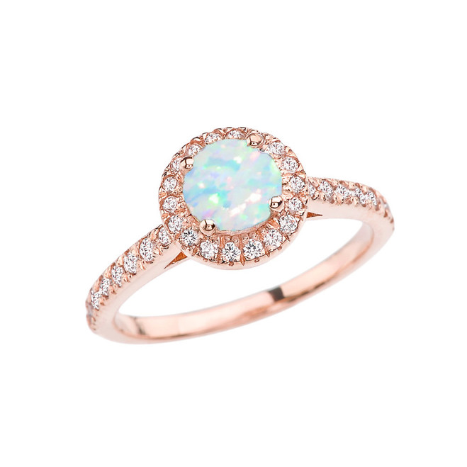 Rose Gold Diamond and Opal (LCOP) Engagement/Proposal Ring