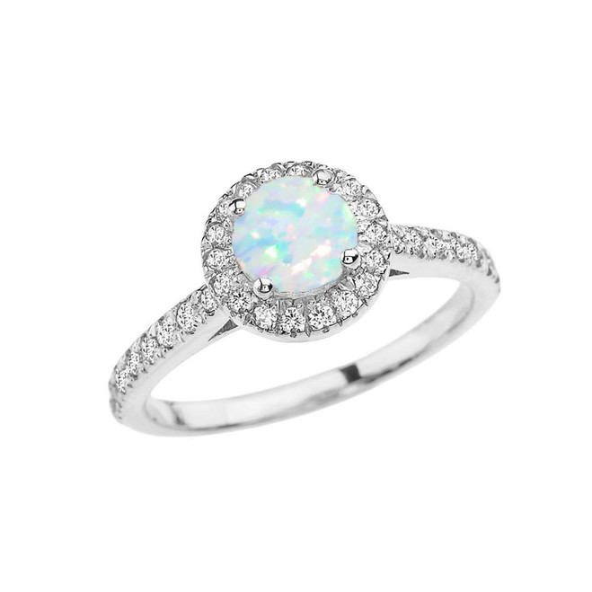 White Gold Diamond and Opal (LCOP) Engagement/Proposal Ring