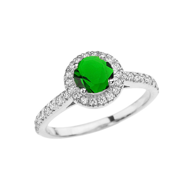 White Gold Diamond and Emerald ( (LCE) Engagement/Proposal Ring