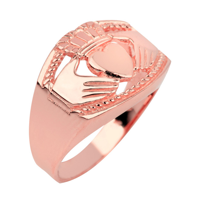 Rose Gold Claddagh Ring Mens Bold
