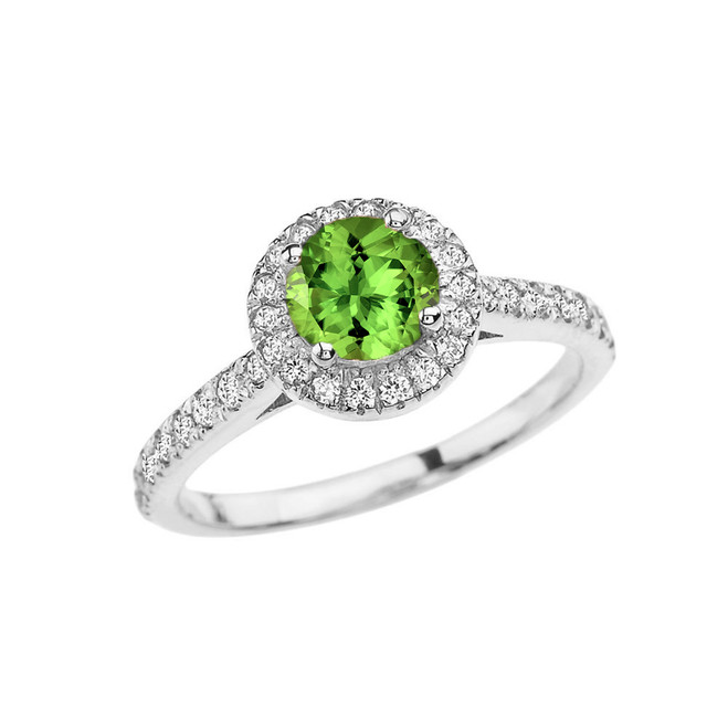 White Gold Diamond and Peridot  Engagement/Proposal Ring