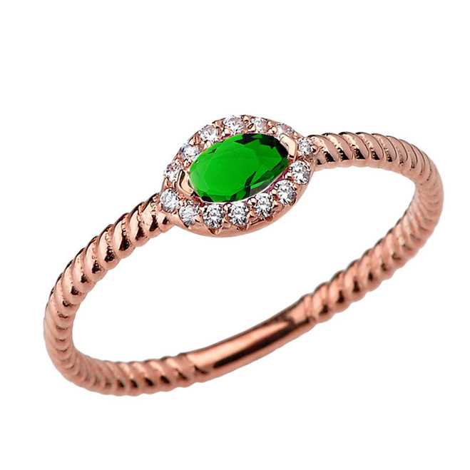 Rose Gold  Diamond and Emerald (LCE)  SOLITAIRE RING