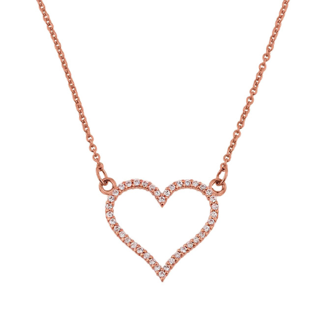 14K Rose Gold Cubic Zirconia Open Heart Necklace