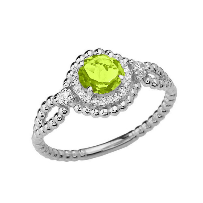 Diamond Engagement Ring White Gold Rope Double Infinity Center Peridot