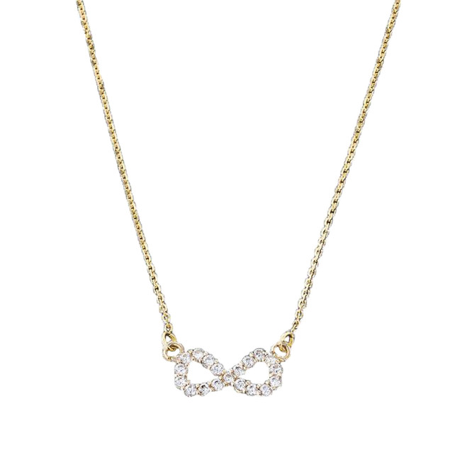 14K Dainty Yellow Gold Infinity Necklace