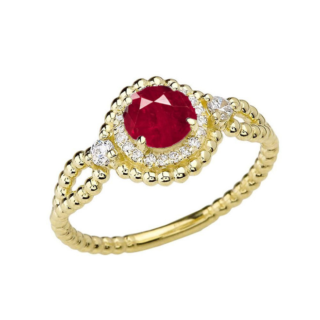 Diamond Engagement Ring Yellow Gold Rope Double Infinity Center Ruby (LCR)