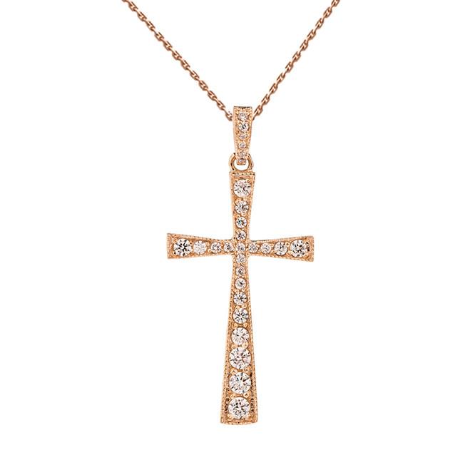 Precious Rose Gold Cross Pendant Necklace