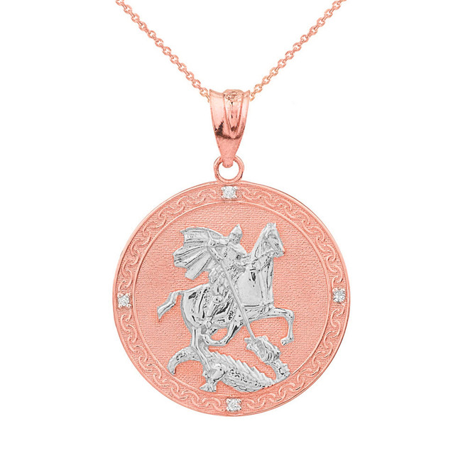 Two Tone Rose Gold Saint George Engravable Diamond Medallion Pendant Necklace  (Small)