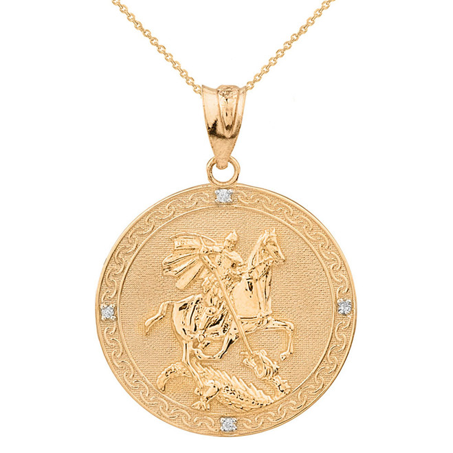 Solid Yellow Gold Saint George Engravable Diamond Medallion Pendant Necklace  (Large)