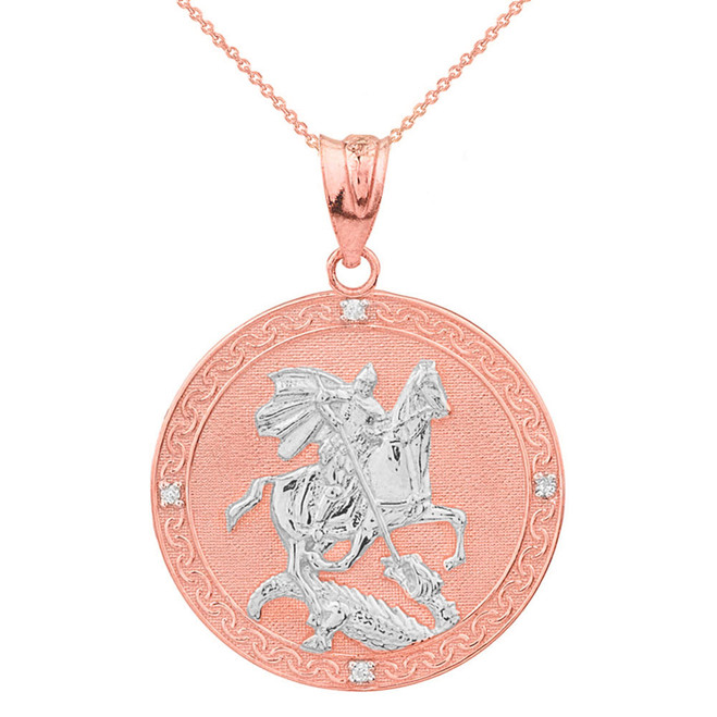 Two Tone Rose Gold Saint George Engravable Diamond Medallion Pendant Necklace  (Large)