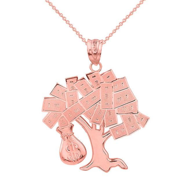 Solid Rose Gold Hip Hop Money Tree Money Bag Pendant Necklace