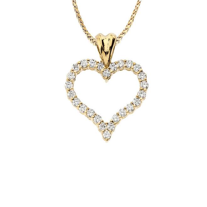 "14K Yellow Gold Diamond Studded Open Heart Pendant Necklace (0.8"")"