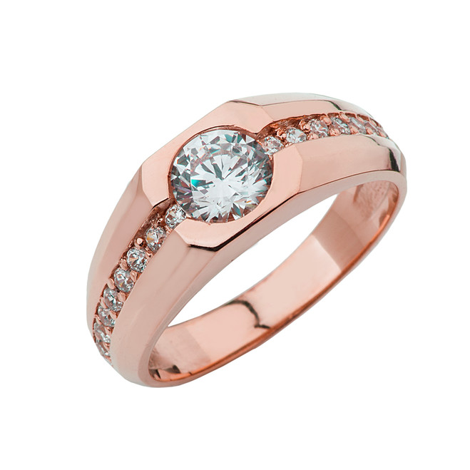 Rose Gold Mens Diamond Solitaire Ring with 1 1\2 White Topaz Center Stone